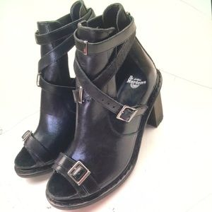 Dr.Martens strappy buckle chunky heeled boots NWT